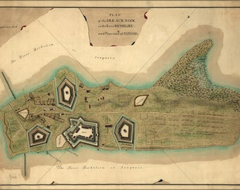 24x36 Poster; Map Of The Isle Aux Noix Quebec Canada 1760