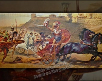 24x36 Poster; Achilles Dragging Hector Around Troy, From A Panoramic Fresco Of The Achilleion Trojan War