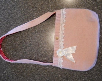 Upcycled pink felted wool purse