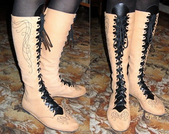 Fantasy Embroidered Elven Boots pattern - Free Shipping Worldwide