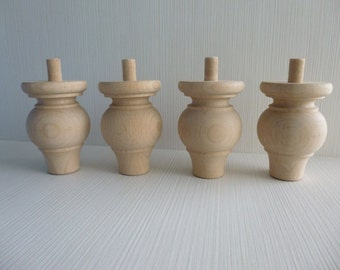 4 wooden unfinished furniture legs 10cm x 6.5cm x 6.5cm