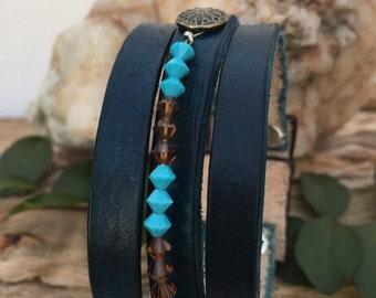 Leather Cuff Bracelet - Swarovski Crystals - Rustic - Turquoise - Midnight Blue - Jewelry
