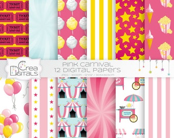 Carnival and circus - 12 pink digital papers - INSTANT DOWNLOAD
