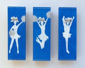 Cheer Art, Cheerleader Art, Cheer Canvas Art, Original Canvas Art, Girls Room, Cheerleading Decor, Cheer Team, Cheerleader Silhouette