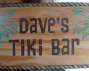 Personalized Hand Painted Rope-edged Palm Tree Sign