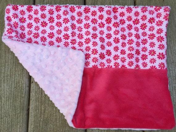 Pink Minky Toddler Pillow With Flowers Light Pink And Green