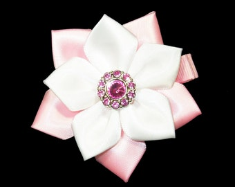 Pink and White Flower Hair Bow, Satin Ribbon Hair Bow, Ribbon Flower Hair Bow, Flower Hair Clip, Satin Flower Hair Clip