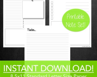 Printable Notes, Printable Stationery, Printable Note Set of 3