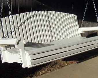 Brand New 4 Foot Painted Fan Back White Porch Swing - with Hanging Chain or Rope - Free Shipping
