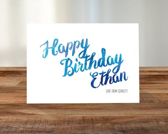 Personalised Birthday A5 Card - Watercolour