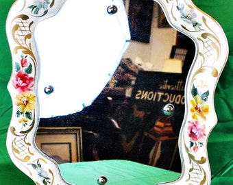 """Art Nouveau style tole mirror with hand painted flowers. 19"""" x 15""""-(1411-161)"""