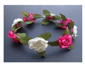 Pink and White Flower Girl Headpiece, Flower Girl Head Crown, Communion Headpiece, Bridesmaid Headpiece, Wedding Headpiece