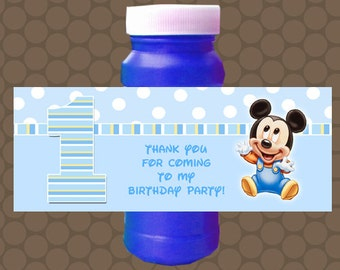 Baby Mickey Birthday Bubble Labels Wrappers Stickers Printable Uprint Digital DIY Instant Download