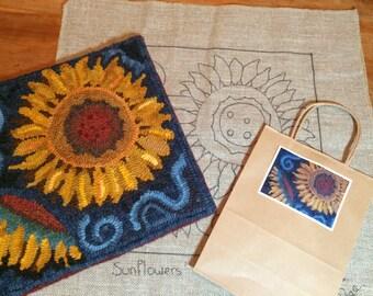 Primitive sunflower design, on Linen or Monkscloth. Floral for pillow or wall hanging. Folk art flowers.