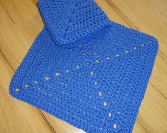"""100% Cotton Crochet 10"""" Dish Cloth or Spa Cloth ~ Pair"""