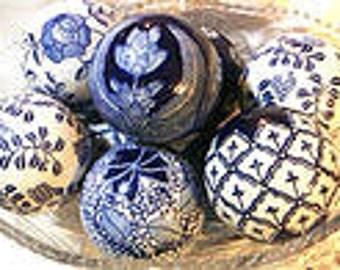 Cobalt blue on white porcelain balls