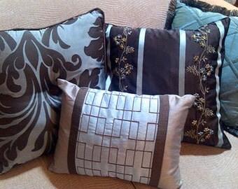 4 DESIGNER PILLOWS, 8 different corresponding patterns