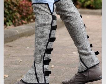 Grey Linen leg warmers / leggings , velcro straps around the back, small or medium size