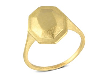Gold statment ring, Faceted Gemstone statment ring, Bespoke 14k gold faceted ring, Gold statment ring for women