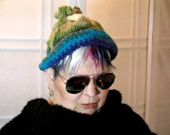pom pom braid hat,blue green white,Handmade multicolor winter hat