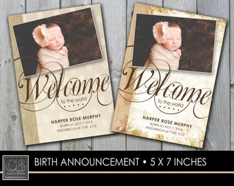 CUSTOMIZED PHOTO Birth Announcement 5 x7 - printable DIGITAL file