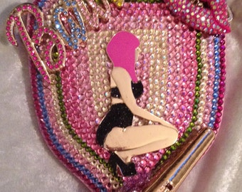 Pink Nicki Minaj inspired Barbie Crystal rhinestone bling hand mirror #nickiminaj #Barbie