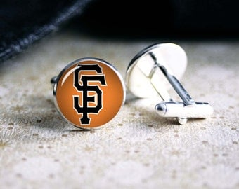 Giants baseball team cufflinks. Gift idea for men, Fathers day, Christmas, prom, wedding cuff links.