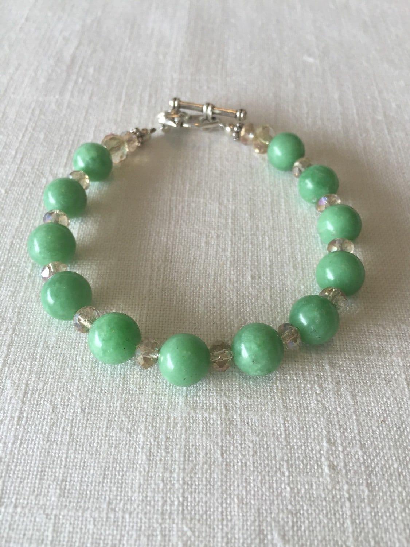 jade gemstone bracelet mint green jade bracelet beaded