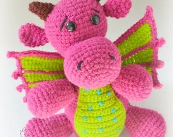 Crochet amigurumi pattern, dragon crochet pattern, crochet toy pattern, Delna the baby dragon, pattern no. 5