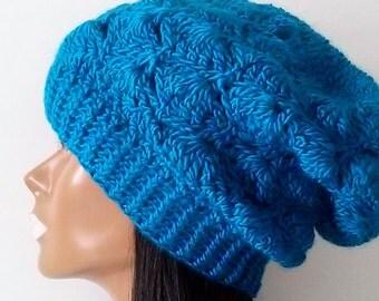 Teal Blue Slouchy Beanie, Slouchy Womens Teens Hat, Handmade Hats
