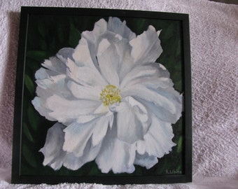 A lovely oil painting of a Peony. Linen canvas. Size 44 x 44 cms.