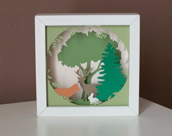 Table cut paper, theme forest