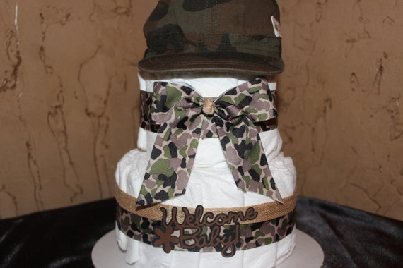Camo Diaper Cake Camo Baby Shower by EveryLittleDetailLLC ...
