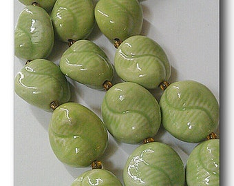 Ceramic Fern Green Beads, Abstract Green Beads, Large Green Beads