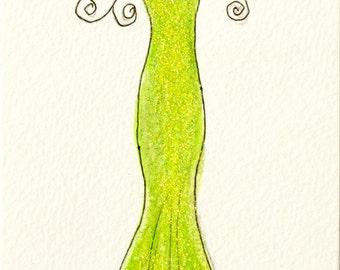 "Illustration, Original artwork, Original Illustration, Fashion Illustration, ""Lime Green Sheath"""