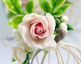 wedding rose flower barrette, hair styles, accessories with flowers