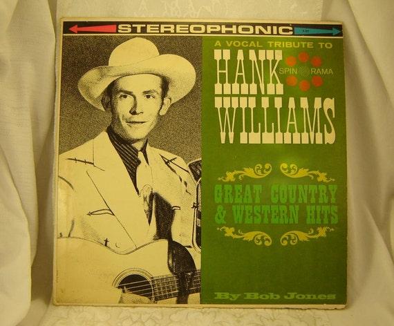 Vintage Hank Williams Vinyl Record Album Tribute To Hank