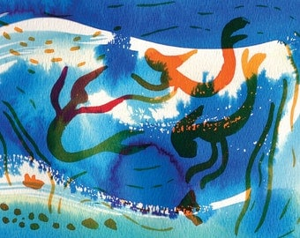 "Art Print, Mermaids, blue, turquoise, orange, dreamy, under the sea, Watercolor 5x7"""