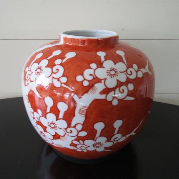 original lj japan vase lovely orange color with tree design. Black Bedroom Furniture Sets. Home Design Ideas