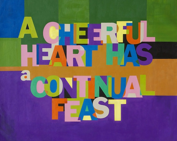 A Cheerful Heart - Christain Word Art - Matted Giclee Print 8x10 on Luster Paper