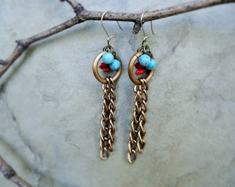 Brass earrings with turquoise and coral