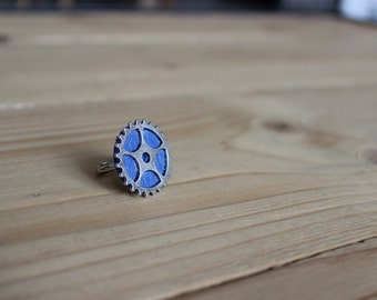 ring steampunk leather blue