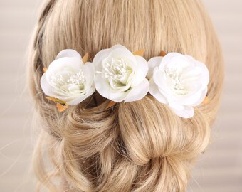 white flower hair pin, wedding hair accessories, bridal hair clip, Flower hair clips, Bridal headpices, wedding hair flower – Set of 3
