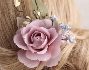 rose hairpiece, flower hairpiece, floral hair clips, wedding hair accessoris, wedding headpiece, flower hair clip, pink flower hair clip