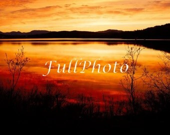 Orange Sunset Photography - Landscape Photography - Fine Art Photography - Beach Print - Sunset - Nature Photo - Calm Relaxing Photo