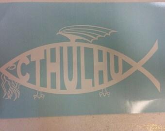 Cthulhu Fish Window Decal