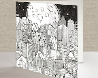 Moon & City Square Greetings Card