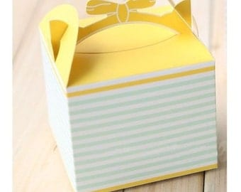 Green/Yellow BOW HANDLE Gift Boxes/Party/Wedding Favour 5PCS
