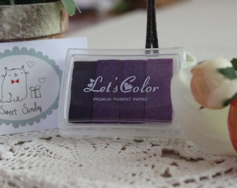 Lets Color 4-in-1 PURPLE INK Rubber Stamp Pad/ Gradient Ink/ Premium Color Ink Pad 1pc
