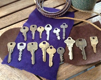Vintage Lot of 15 Keys Brass Door Keys, Padlock Keys, Ignition Keys